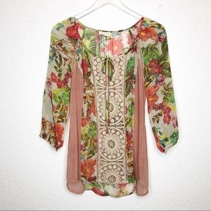 Anthro | Meadow Rue Sheer Floral Blouse Size Small
